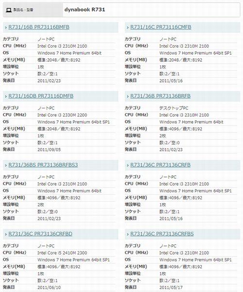 パソコンの機種一覧の表示の画像