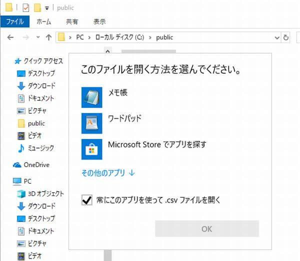 CSVファイルをダブルクリックした時に表示される画面の画像