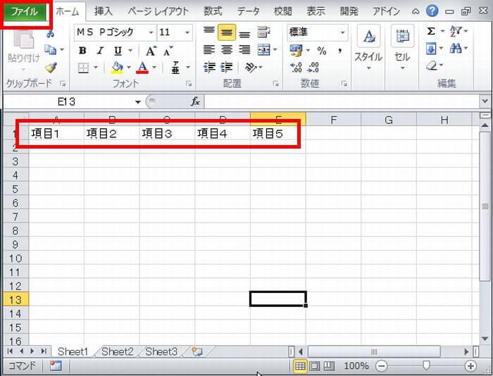データ入力をしたエクセルファイル