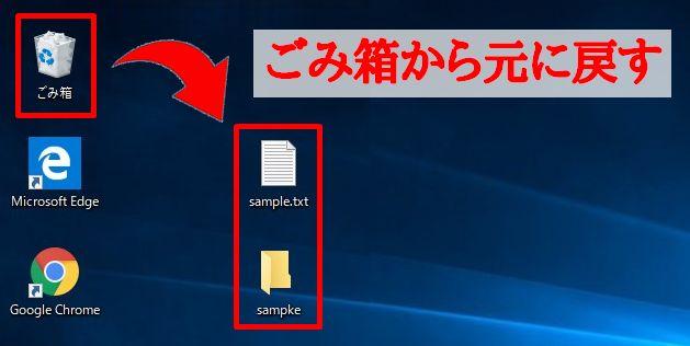 ごみ箱に入れたファイル、フォルダ―を元に戻すイメージ画像