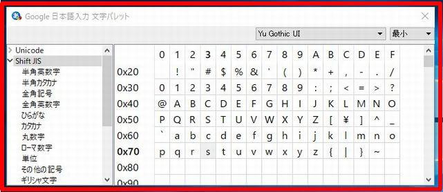 Google日本語入力のメニュー画面の「文字パレット」の画面
