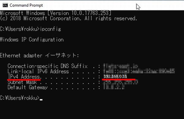 コマンドで、IPアドレスが表示された画面