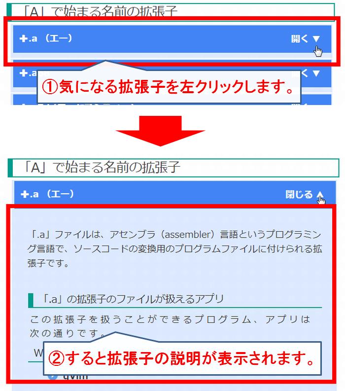 拡張子一覧から、拡張子の内容を見る方法を紹介した画像