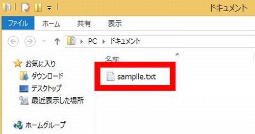 テキストファイルの拡張子が表示された状態の画像