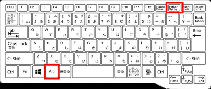 alt+prtscrのキーに印を付けているキーボードのイラスト