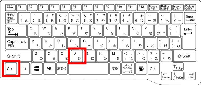 キーボードでCtl+Vの位置を記した画像