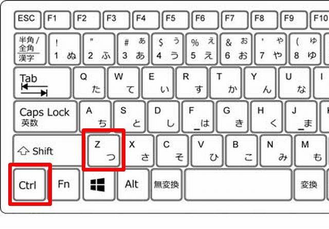 キーボードで「Ctrl+Z」のキーの位置を示した画像