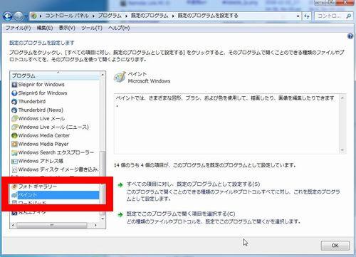 「既定のプログラムを設定する」画面でペイントを選択した画面