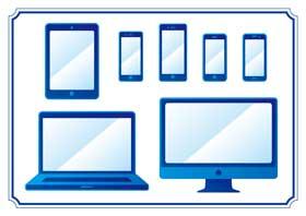 色々なパソコンやスマホ、タブレットのイラスト