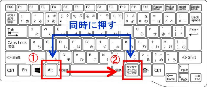 キーボードの「alt」と「カタカナひらがな|ローマ字」を同時に押すキーボードの画像