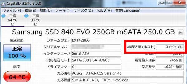 SSDの総書き込み量を表示した画面